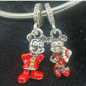 New Sterling Silver 2pcs CZ European Charm Beads